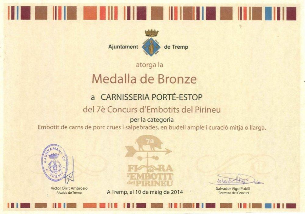 diploma-medalla-bronce-tremp-embotit-tradicional-carnisseria-porte-estop-vilaller-artesano-ribagorça-pirineo-002