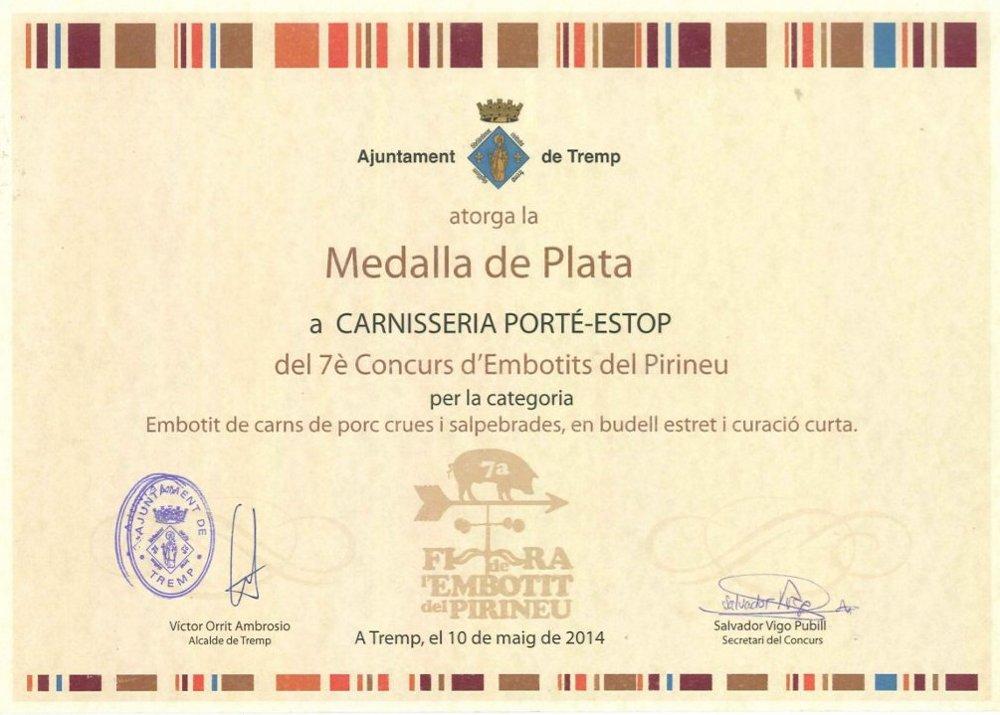 diploma-medalla-plata-tremp-embotit-tradicional-carnisseria-porte-estop-vilaller-artesano-ribagorça-pirineo-001