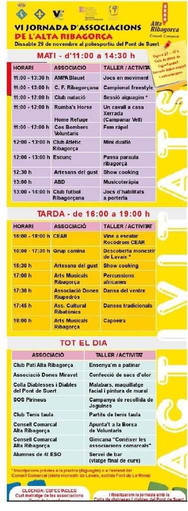 Activitats de la VI Jornada d´Associacions de l´Alta Ribagorça.