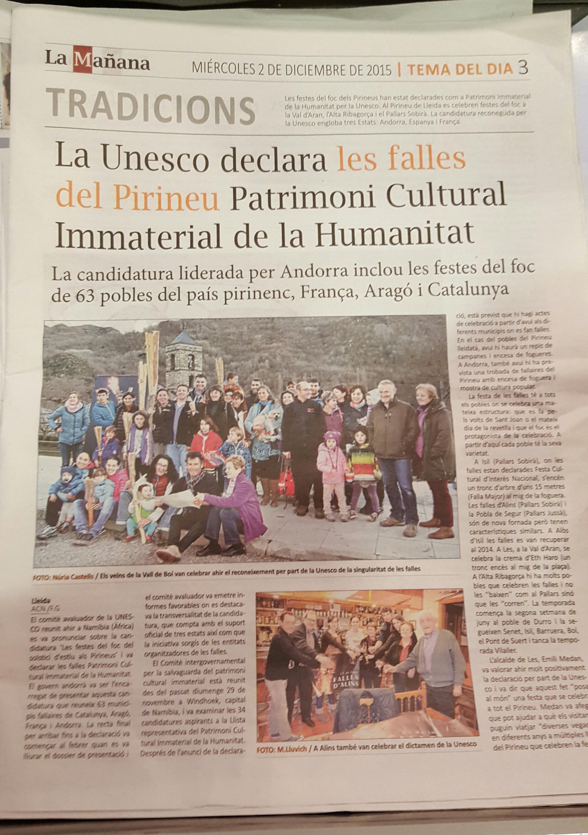 La Unesco declara les #FallesPirineu Patrimoni Inmaterial de la Humanitat